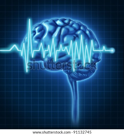 Human Brain ECG Health monitoring of the electrical signals that cause seizures in the human mind and charting the cognitive mental function of the intelligence of the anatomy of the body. - stock photo