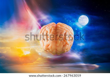 Human brain floating in the sky - stock photo