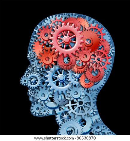Human brain function represented by red and blue gears in the shape of a head representing the symbol of mental health and neurological functioning in patients with a depression disability. - stock photo