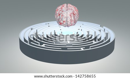 Human Brain Hovers over Circular Maze - stock photo