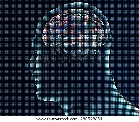 Human brain in pixels. Side view illustration of human brain in pixels on black background - stock photo