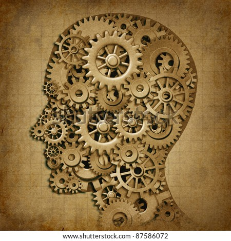 Human brain intelligence grunge machine medical symbol with old texture made of cogs and gears representing strategy and psychological mental neurological activity. - stock photo