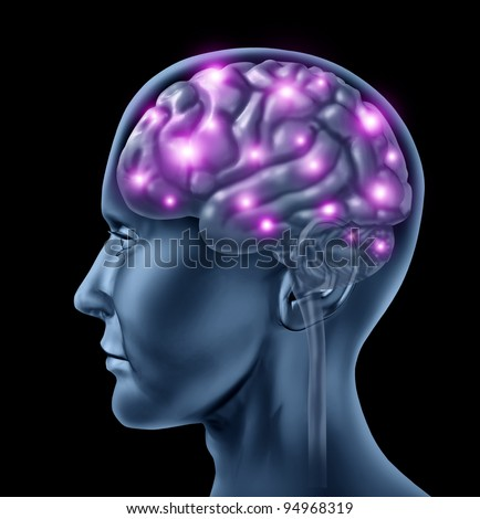 Human brain intelligence with an anatomical medical symbol of a head with neurons firing and glowing showing active neurological function related to memory and mental health and medicine. - stock photo