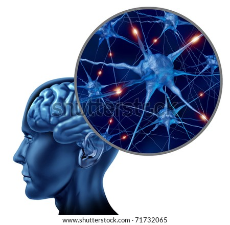 Human brain medical symbol represented by a close up of neurons and organ cell activity showing intelligence related to memory. - stock photo