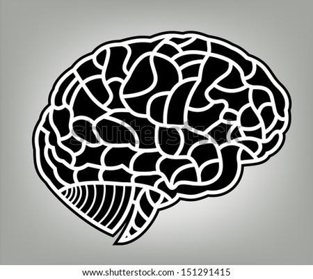 human brain model. bitmap - stock photo