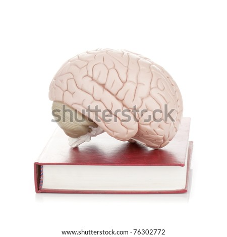 Human brain on book with leather cover (education, medical, neuroscience, psychology concept and more) - stock photo
