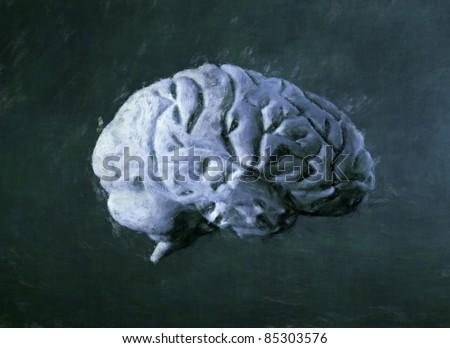 Human brain painting - stock photo