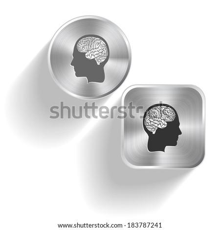 Human brain. Raster set steel buttons - stock photo