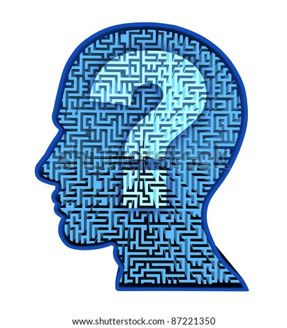 Human brain research and intelligence in autism as a puzzle with a blue glowing maze and labyrinth in the shape of a human head and question mark for thinking and psychology or physiological behavior - stock photo