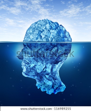 Human brain risks with an iceberg in the shape of a head partially submerged in the cold arctic ocean as a health care medical symbol for hidden neurological and psychological symptoms. - stock photo