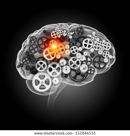 Human brain silhouette with gears and cog wheel elements against black background - stock photo