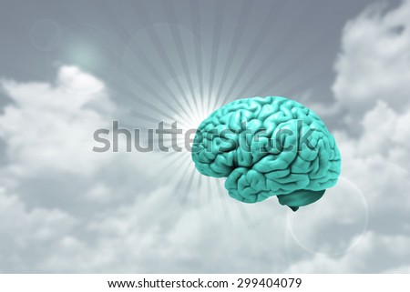 human brain,sky.sun and clouds background