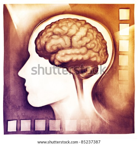human brain & stylized head (medical schematic simplified illustration - painting)