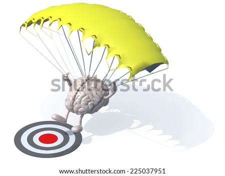 human brain that is landing with parachute on a target, 3d illustration - stock photo