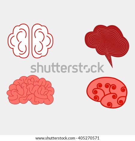 Human brain views set  icons. - stock photo