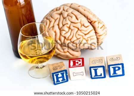 Human brain alcohol drink bottle written stock photo royalty free human brain with alcohol drink and bottle with written help on white background ccuart Choice Image