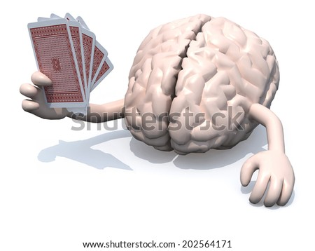 human brain with arms and legs been playing poker, 3d illustration - stock photo