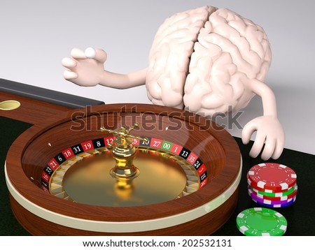 human brain with arms and legs behind roulette table in a casino, 3d illustration - stock photo