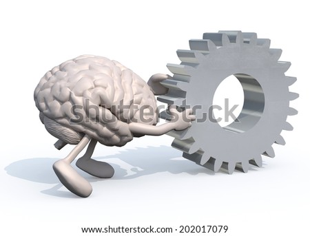 human brain with arms and legs pushing a big gear, 3d illustration - stock photo