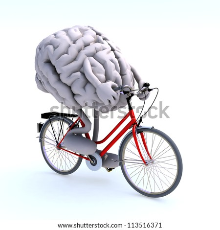 human brain with arms and legs riding a bicycle, 3d illustration - stock photo