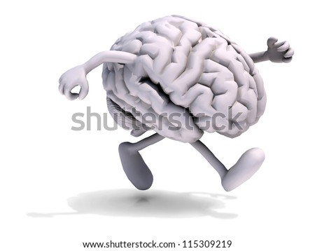human brain with arms and legs running, 3d illustration - stock photo