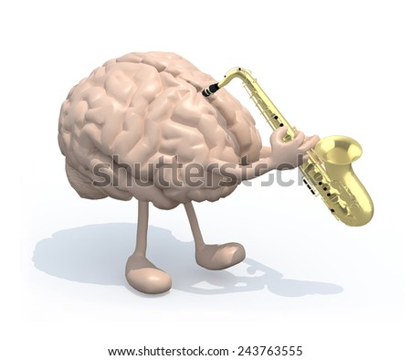 human brain with arms and legs who play saxophone, 3d illustration - stock photo