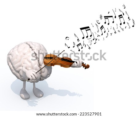 human brain with arms and legs who plays the violin, 3d illustration - stock photo