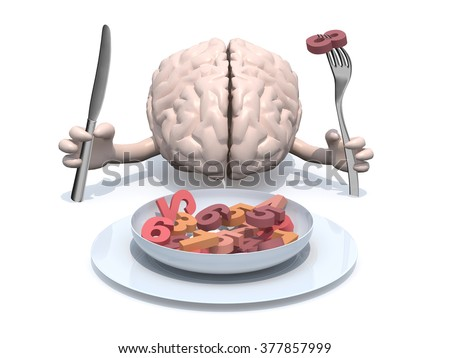 human brain with arms, fork and knife in hand in front of plate with many 3d numbers - stock photo