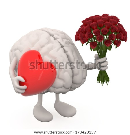 human brain with arms, leg, bunch of roses and red heart on hands - stock photo