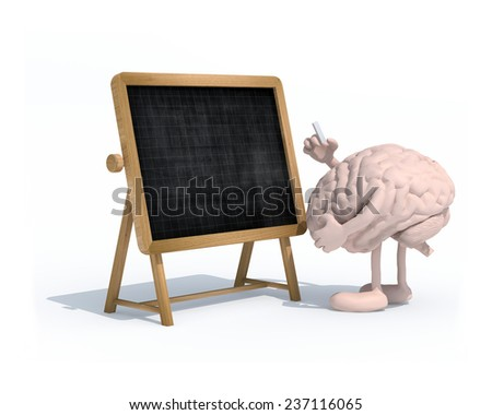 human brain with arms, legs and chalk on hand in front of blackboard, 3d illustration - stock photo