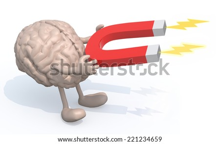 human brain with arms, legs and magnet on hands, 3d illustration - stock photo