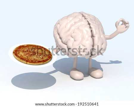 human brain with arms, legs and pizza on dish, 3d illustration - stock photo