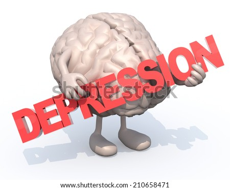"human brain with arts that embraces a word ""depression"", 3d illustration - stock photo"