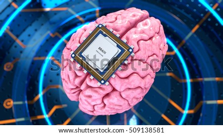 Human brain with computer processor. Concept 3d render, illustration