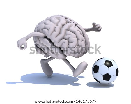 human brain with his arms and legs running with a football, 3d illustration - stock photo