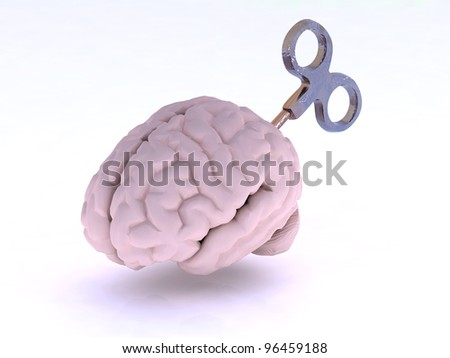 human brain with key, energy charge concept, 3d illustration - stock photo