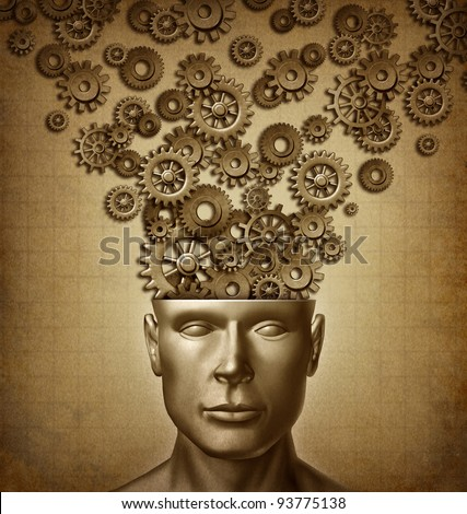 Human Business and the intelligent brain with a front facing human head that has gears and cog in a grunge vintage old parchment paper texture for design innovation as thinking to lead and learn.