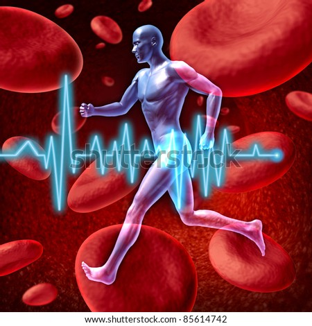 Human cardiovascular circulation represented by a running human on a background of red blood cells flowing through an artery for the concept of the medical circulatory system that is well oxygenated. - stock photo