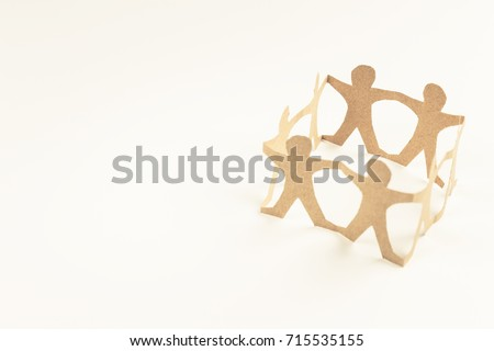 Human chain paper in circle on white background