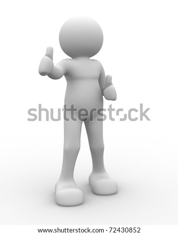 Human character making okey sign - 3d render illustration
