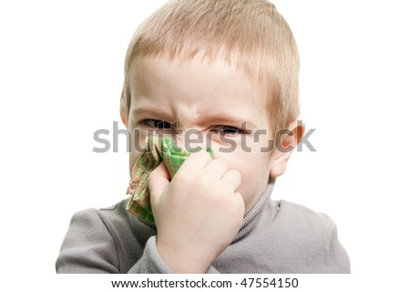 Human child cold flu illness tissue blowing nose - stock photo