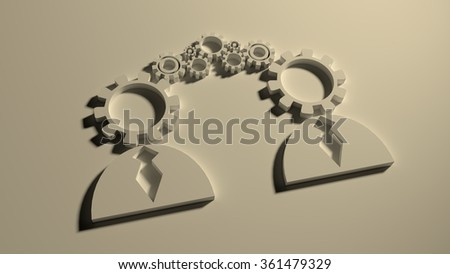 Human communication simple icons model. Image relative to social connection. 3D outline silhouettes. Gear instead head.  - stock photo