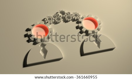 Human communication simple icons model. Image relative to social connection. 3D outline silhouettes. Gear instead head. Light in brains - stock photo