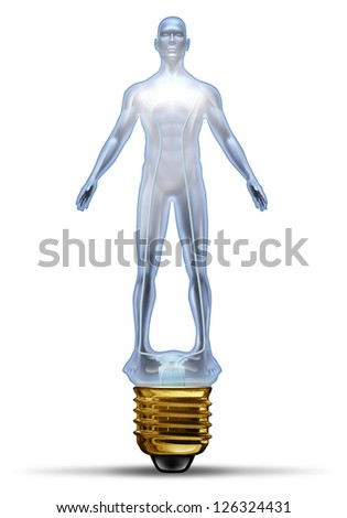 Human creative power and potential as a glass lightbulb in the shape of a body as concept of intelligence and ideas in research for disease and illness in the medical field and business. - stock photo