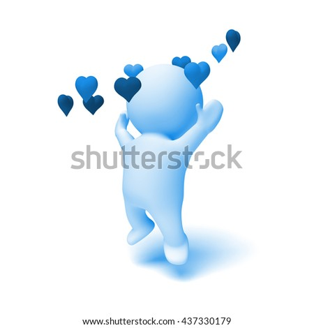 human 3d character in shades of blue cheering happily in a ring of hearts (3D illustration isolated on a white background) - stock photo