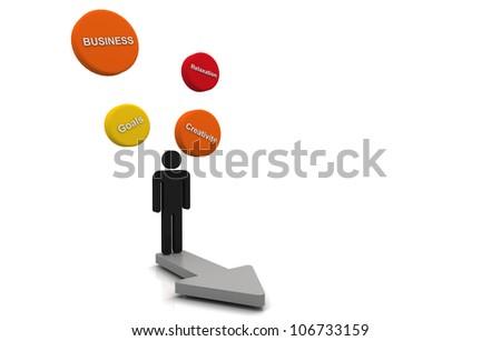 Human 3D render business plan bubble diagram floating and arrow direction concept orange - stock photo