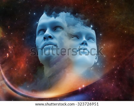 Human Dawn series. Arrangement of Human forms, fractal shapes and colors on the subject of art, creativity, imagination, science and design - stock photo