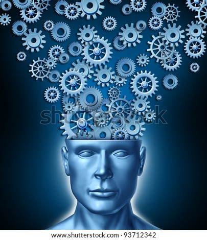 Human designer and the intelligent constructive brain as a front facing human head with gears and cogs flowing out of the persons mind as a symbol of innovation in business as education technology. - stock photo