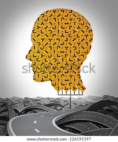 Human Direction with a huge sign as a group of traffic signage shaped as a human head with a road surrounded by tangled confused highways as a symbol of choice and searching for the path to success.