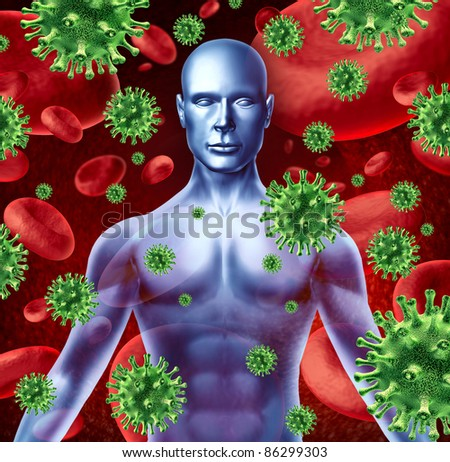Human disease and infection representing a medical health concept of bacterial virus transfer and spread of infections from human transfusions showing the upper body of a patient torso. - stock photo